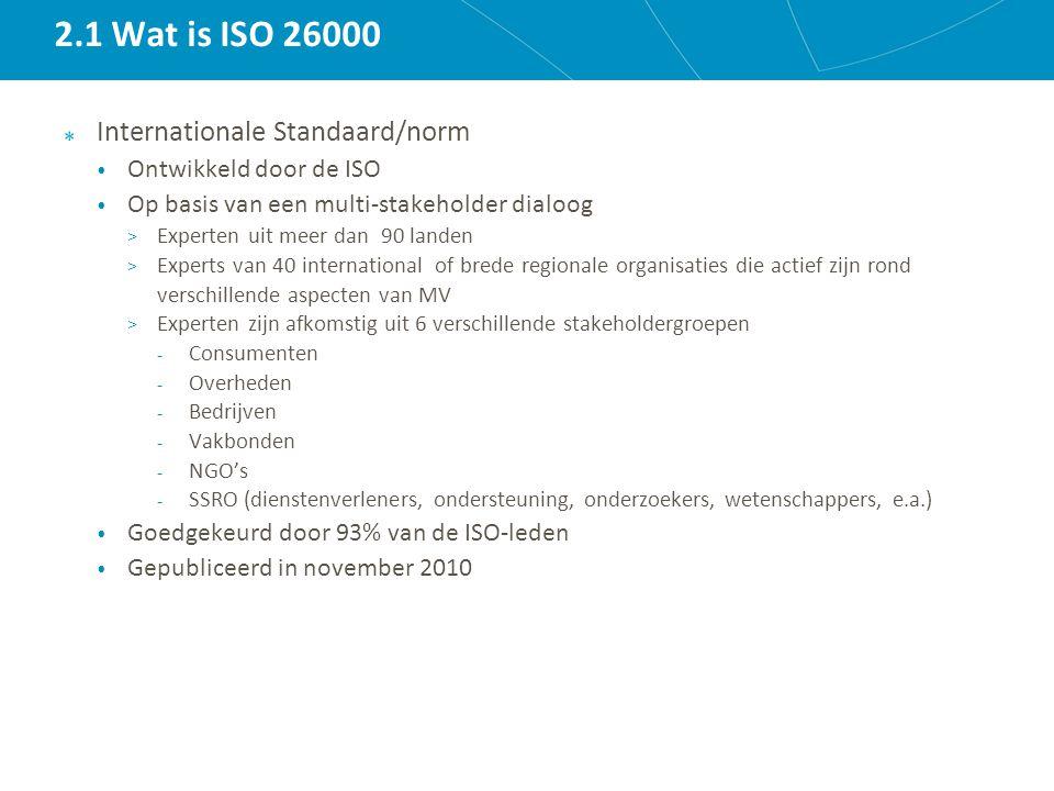 2.1 Wat is ISO 26000 Internationale Standaard/norm Ontwikkeld door de ISO Op basis van een multi-stakeholder dialoog > Experten uit meer dan 90 landen > Experts van 40 international of brede regionale organisaties die actief zijn rond verschillende aspecten van MV > Experten zijn afkomstig uit 6 verschillende stakeholdergroepen - Consumenten - Overheden - Bedrijven - Vakbonden - NGO's - SSRO (dienstenverleners, ondersteuning, onderzoekers, wetenschappers, e.a.) Goedgekeurd door 93% van de ISO-leden Gepubliceerd in november 2010