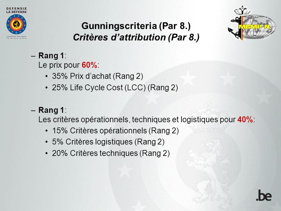 Gunningscriteria (Par 8.) Critères d'attribution (Par 8.) –Rang 1: Le prix pour 60%: 35% Prix d'achat (Rang 2) 25% Life Cycle Cost (LCC) (Rang 2) –Rang 1: Les critères opérationnels, techniques et logistiques pour 40%: 15% Critères opérationnels (Rang 2) 5% Critères logistiques (Rang 2) 20% Critères techniques (Rang 2)