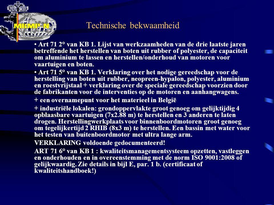 Technische bekwaamheid Art 71 2° van KB 1.