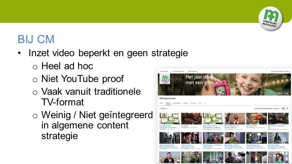 BIJ CM Inzet video beperkt en geen strategie o Heel ad hoc o Niet YouTube proof o Vaak vanuit traditionele TV-format o Weinig / Niet geïntegreerd in algemene content strategie