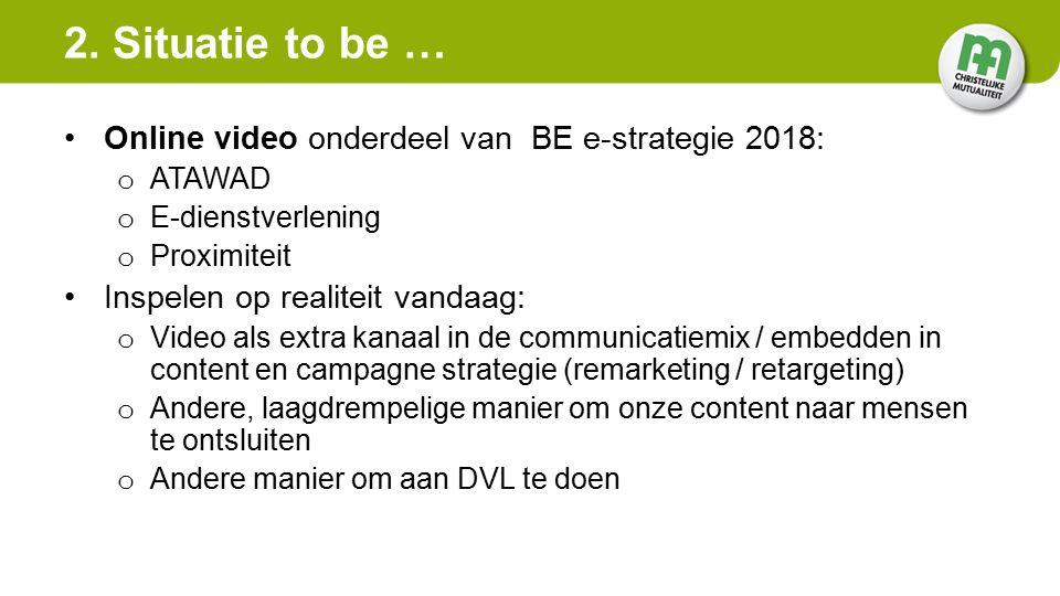 Online video onderdeel van BE e-strategie 2018: o ATAWAD o E-dienstverlening o Proximiteit Inspelen op realiteit vandaag: o Video als extra kanaal in de communicatiemix / embedden in content en campagne strategie (remarketing / retargeting) o Andere, laagdrempelige manier om onze content naar mensen te ontsluiten o Andere manier om aan DVL te doen 2.