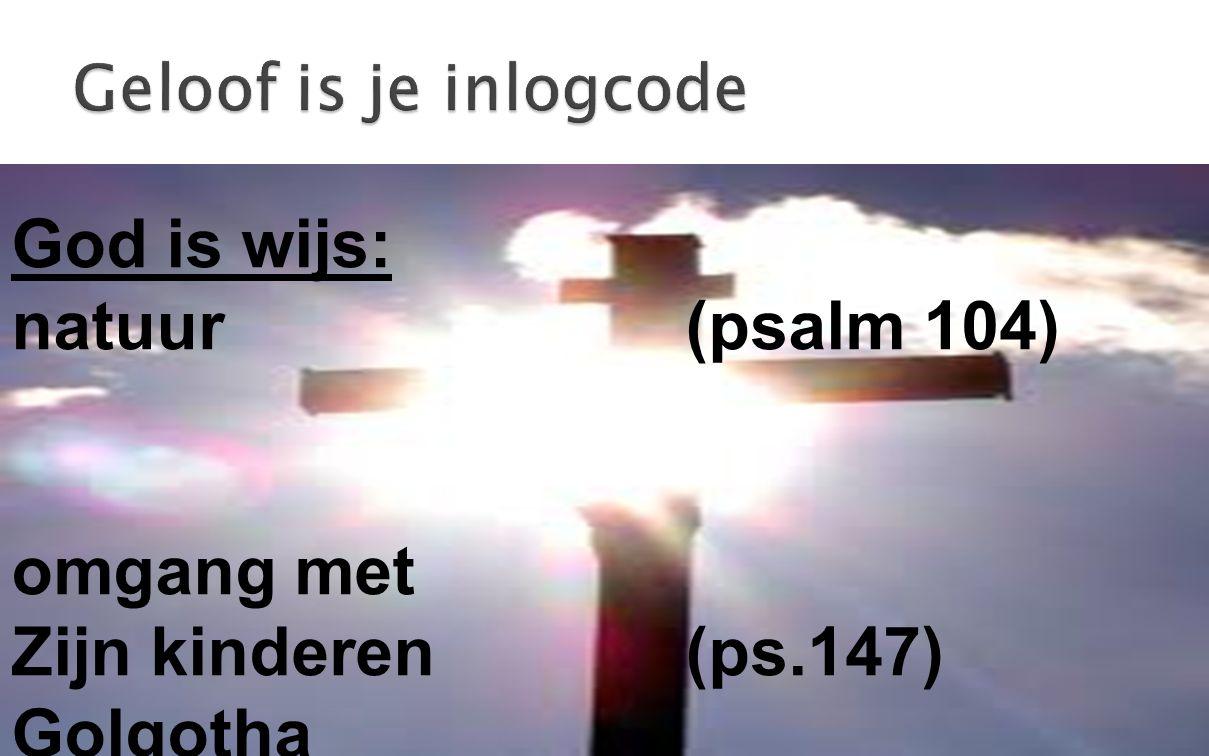 God is wijs: natuur (psalm 104) omgang met Zijn kinderen (ps.147) Golgotha