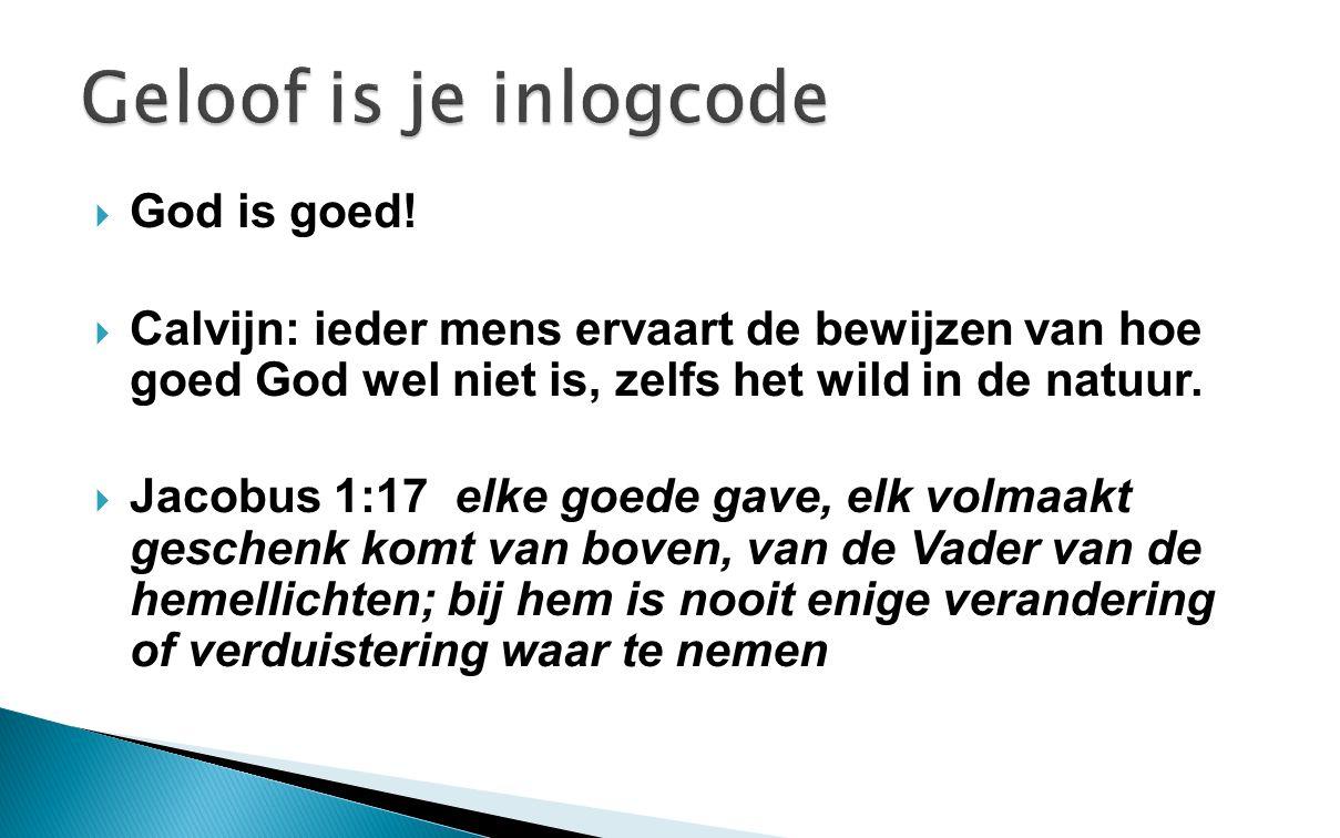  God is goed!  Calvijn: ieder mens ervaart de bewijzen van hoe goed God wel niet is, zelfs het wild in de natuur.  Jacobus 1:17 elke goede gave, el