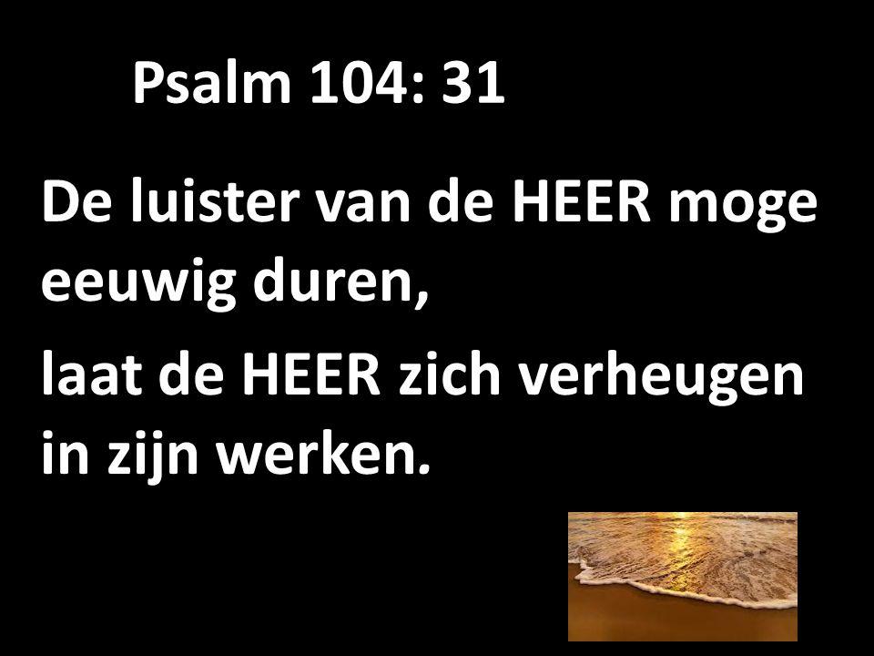 Psalm 104: 31 De luister van de HEER moge eeuwig duren, laat de HEER zich verheugen in zijn werken.