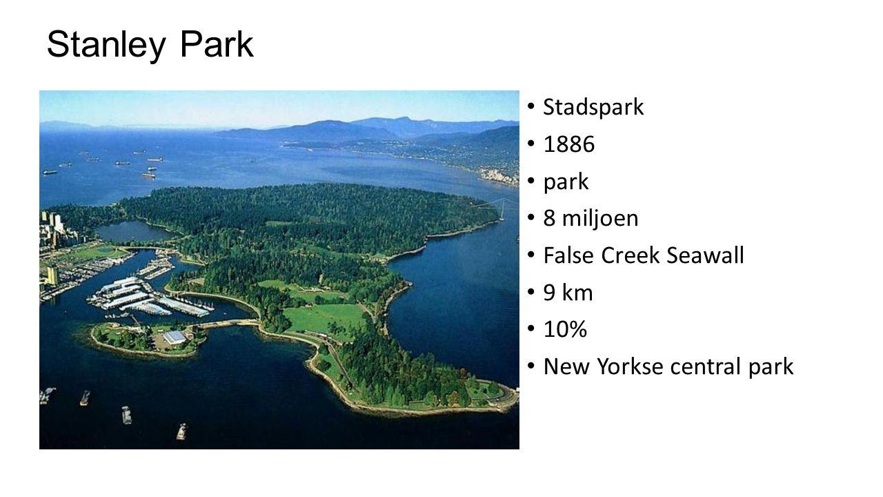 Stanley Park Stadspark 1886 park 8 miljoen False Creek Seawall 9 km 10% New Yorkse central park