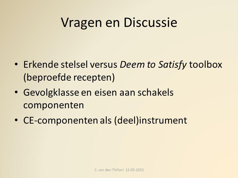 Vragen en Discussie Erkende stelsel versus Deem to Satisfy toolbox (beproefde recepten) Gevolgklasse en eisen aan schakels componenten CE-componenten