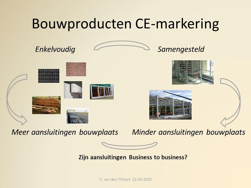 Bouwproducten CE-markering C. van den Thillart 12-05-2015 Meer aansluitingen bouwplaats Zijn aansluitingen Business to business? Samengesteld Minder a
