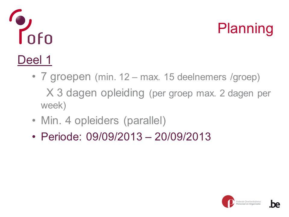 Planning Deel 1 7 groepen (min. 12 – max.