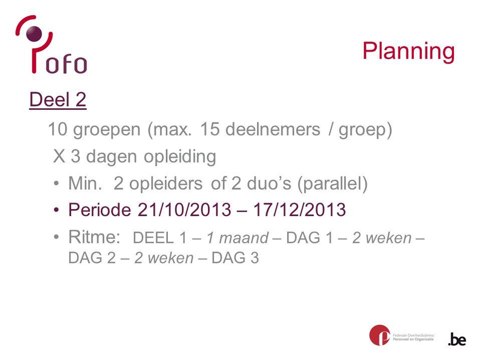 Planning Deel 2 10 groepen (max. 15 deelnemers / groep) X 3 dagen opleiding Min.