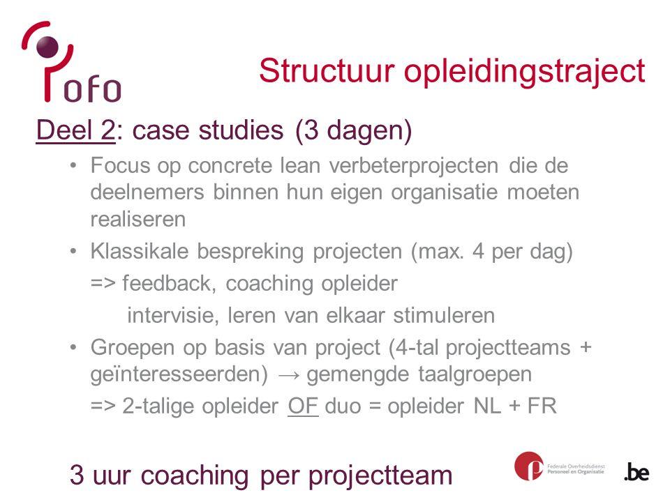 Structuur opleidingstraject Deel 2: case studies (3 dagen) Focus op concrete lean verbeterprojecten die de deelnemers binnen hun eigen organisatie moeten realiseren Klassikale bespreking projecten (max.