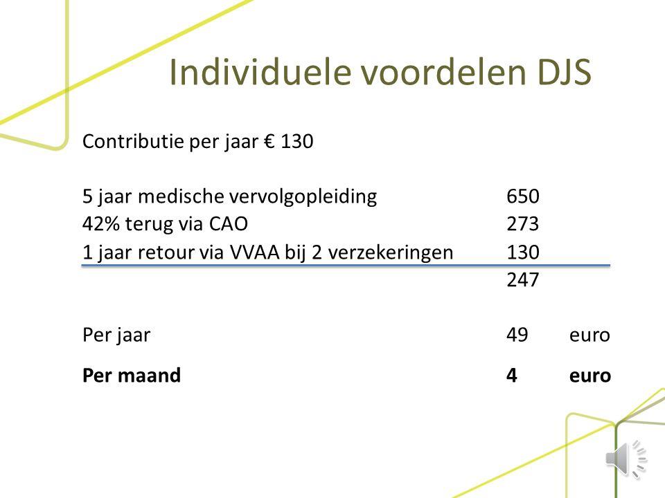 Individuele voordelen DJS  Kosteloos gebruik maken van infodesk  Vragen over arbeidstijden  Gratis juridische dienstverlening  Kosteloos lid van L