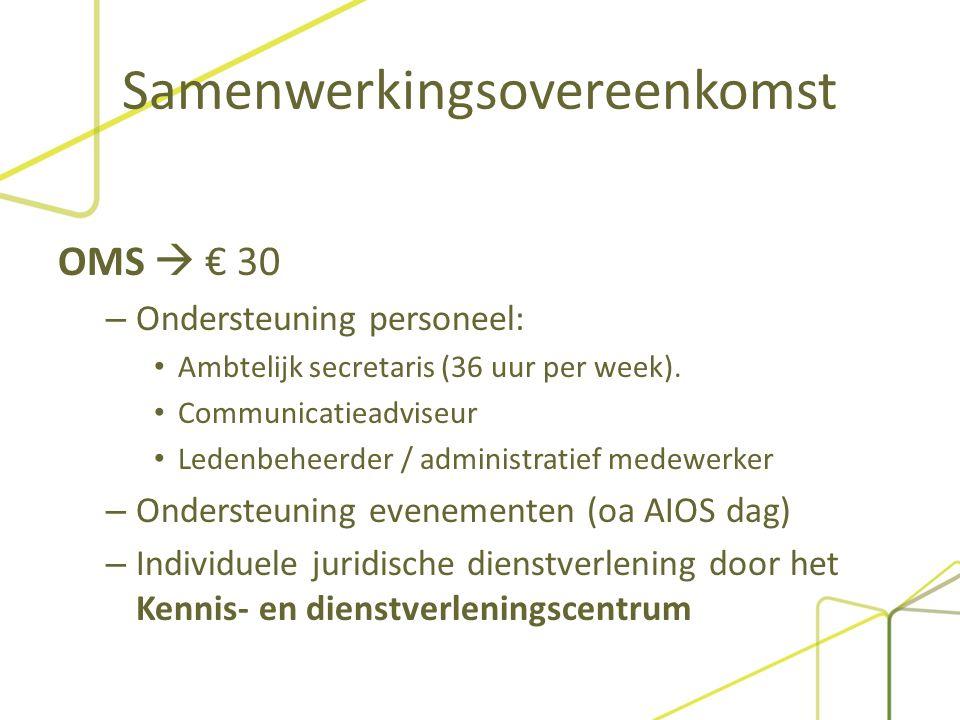 Samenwerkingsovereenkomst OMS  € 30 – Ondersteuning personeel: Ambtelijk secretaris (36 uur per week).