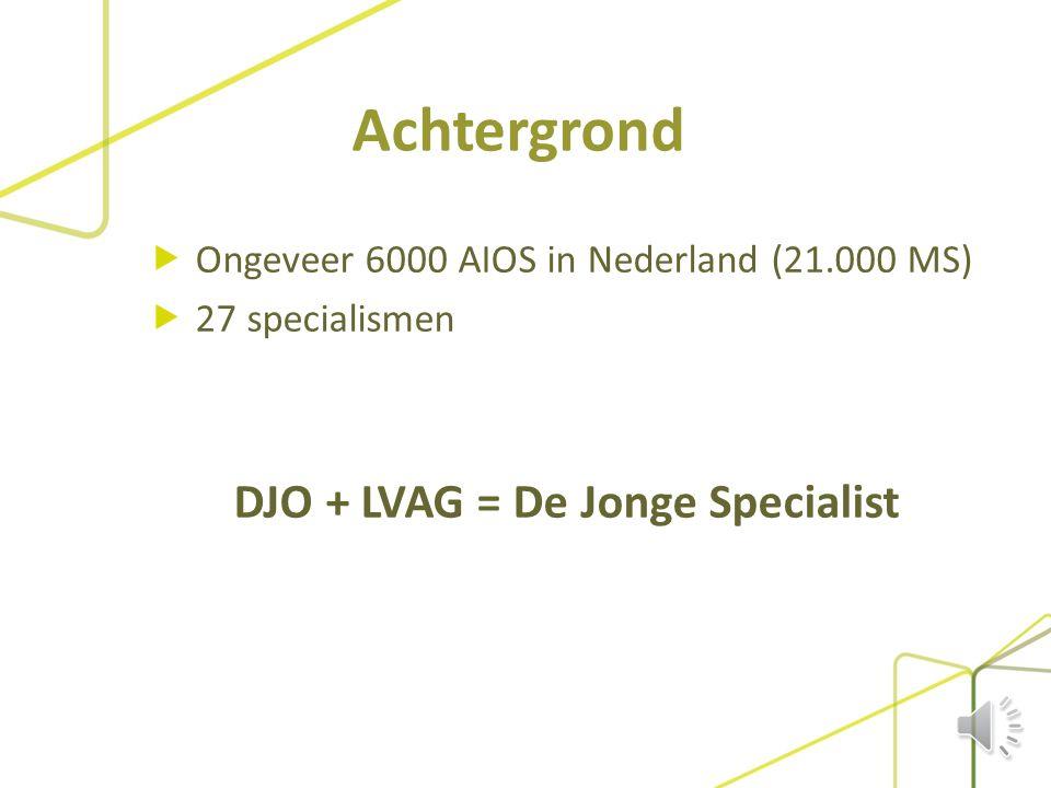 Achtergrond  Ongeveer 6000 AIOS in Nederland (21.000 MS)  27 specialismen DJO + LVAG = De Jonge Specialist