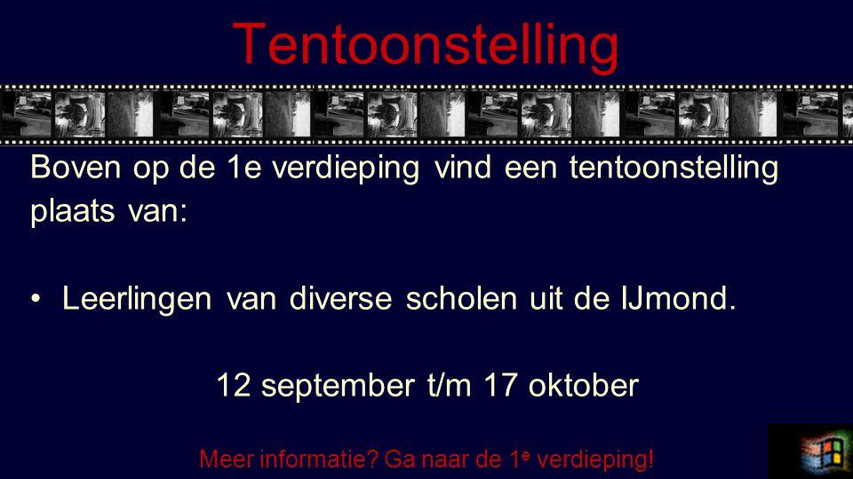 Tentoonstelling Boven op de 1e verdieping vind een tentoonstelling plaats van: Leerlingen van diverse scholen uit de IJmond.