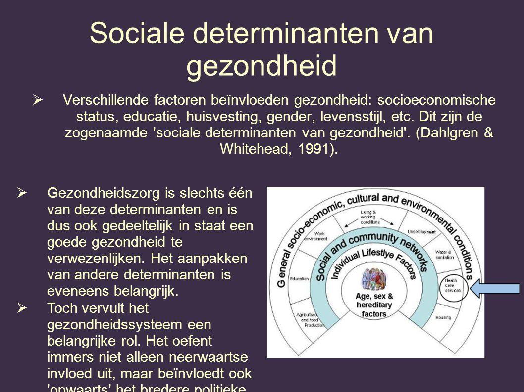 Sociale determinanten van gezondheid  Verschillende factoren beïnvloeden gezondheid: socioeconomische status, educatie, huisvesting, gender, levensst