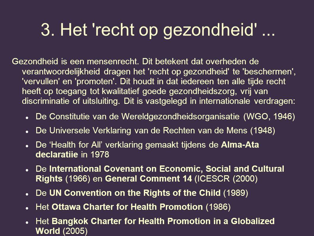 3. Het 'recht op gezondheid'... Gezondheid is een mensenrecht. Dit betekent dat overheden de verantwoordelijkheid dragen het 'recht op gezondheid' te