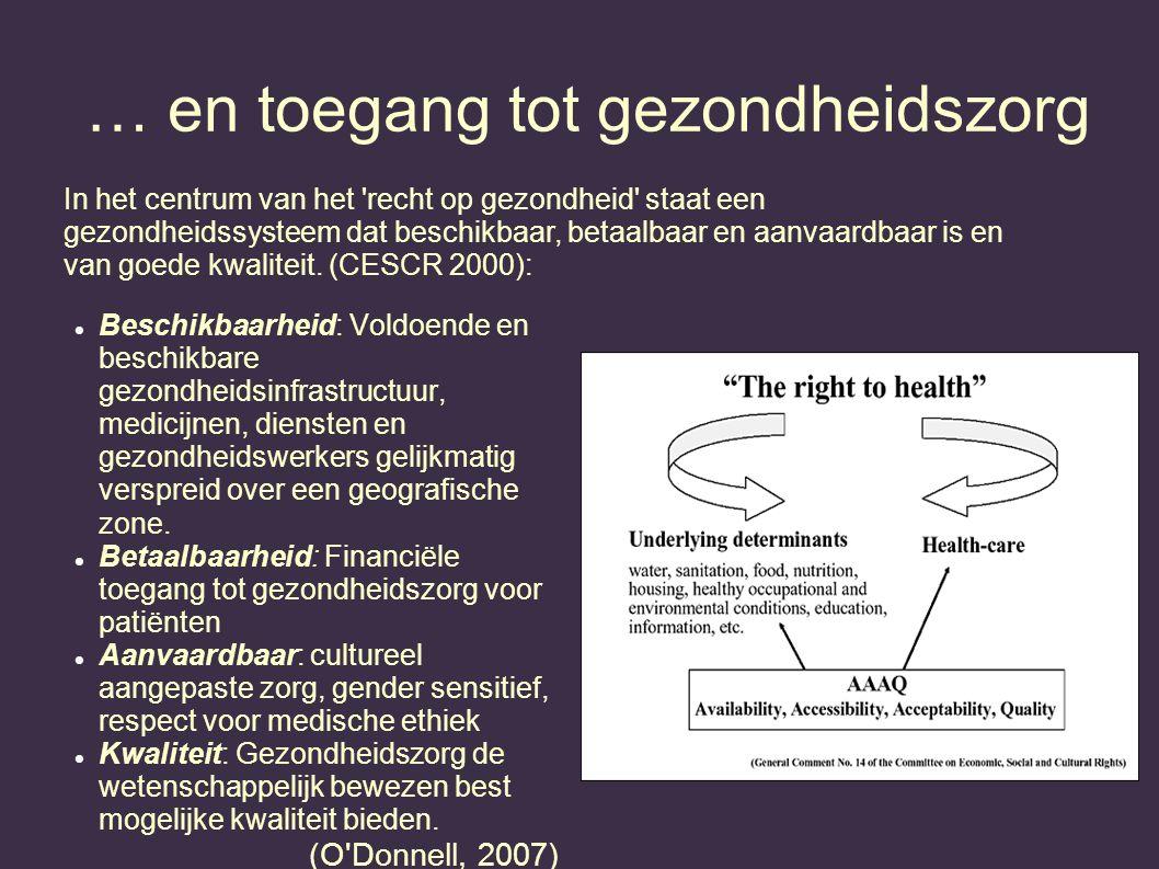 … en toegang tot gezondheidszorg Beschikbaarheid: Voldoende en beschikbare gezondheidsinfrastructuur, medicijnen, diensten en gezondheidswerkers gelij