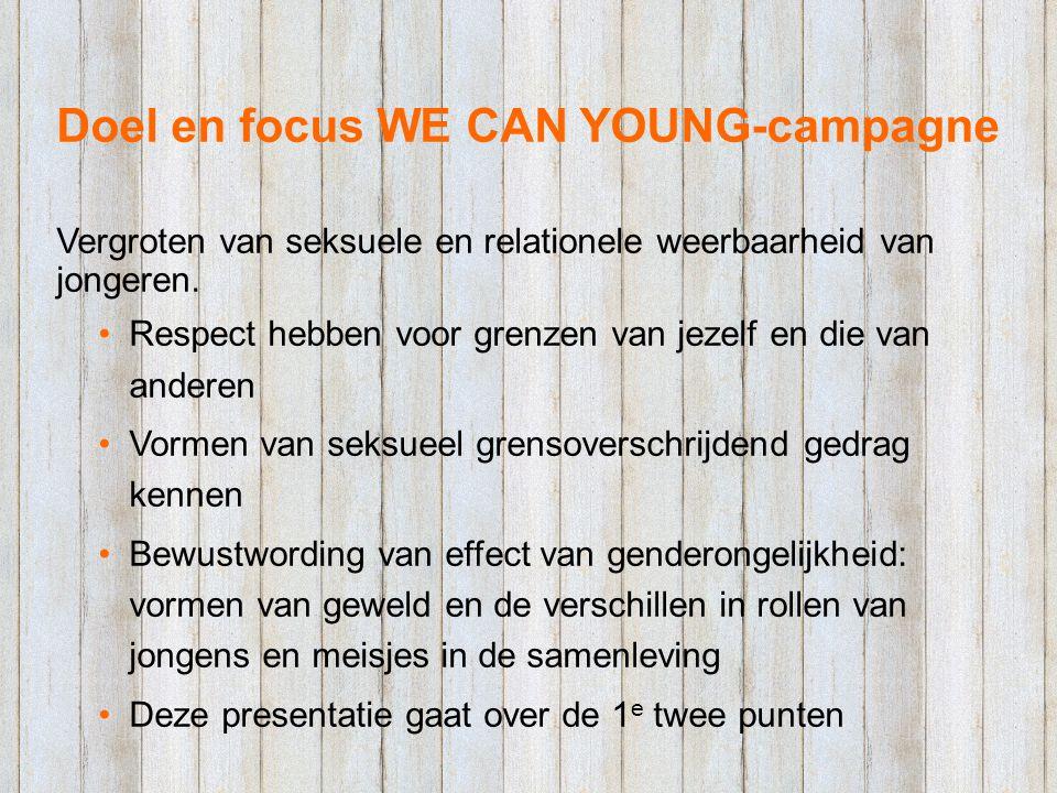 Doel en focus WE CAN YOUNG-campagne Vergroten van seksuele en relationele weerbaarheid van jongeren. Respect hebben voor grenzen van jezelf en die van