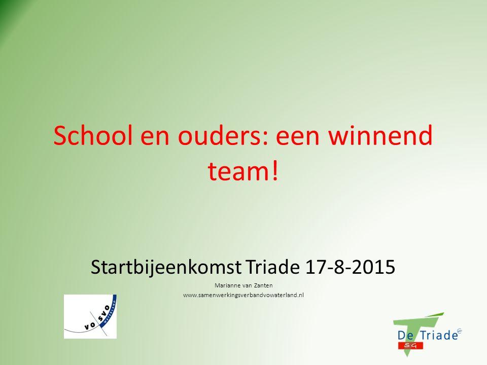 School en ouders: een winnend team! Startbijeenkomst Triade 17-8-2015 Marianne van Zanten www.samenwerkingsverbandvowaterland.nl