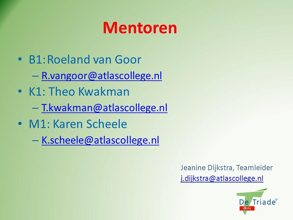 Mentoren B1:Roeland van Goor – R.vangoor@atlascollege.nl R.vangoor@atlascollege.nl K1: Theo Kwakman – T.kwakman@atlascollege.nl T.kwakman@atlascollege