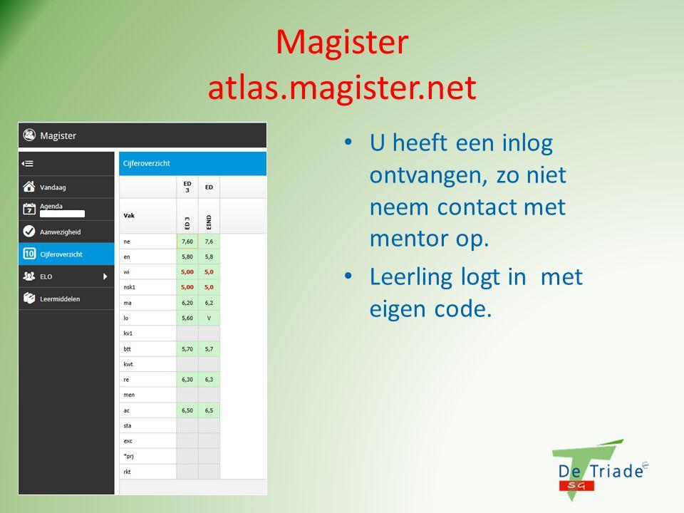 Magister atlas.magister.net U heeft een inlog ontvangen, zo niet neem contact met mentor op. Leerling logt in met eigen code.