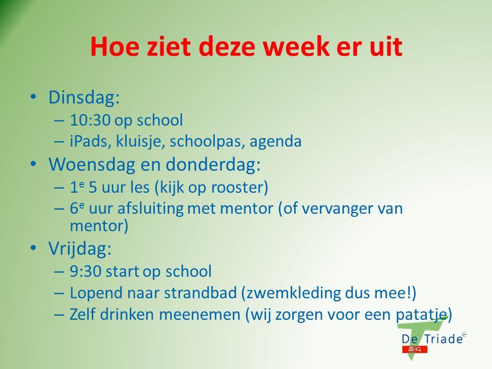 Hoe ziet deze week er uit Dinsdag: – 10:30 op school – iPads, kluisje, schoolpas, agenda Woensdag en donderdag: – 1 e 5 uur les (kijk op rooster) – 6