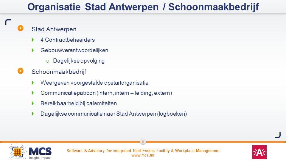 Software & Advisory for Integrated Real Estate, Facility & Workplace Management www.mcs.fm 9 Stad Antwerpen 4 Contractbeheerders Gebouwverantwoordelij