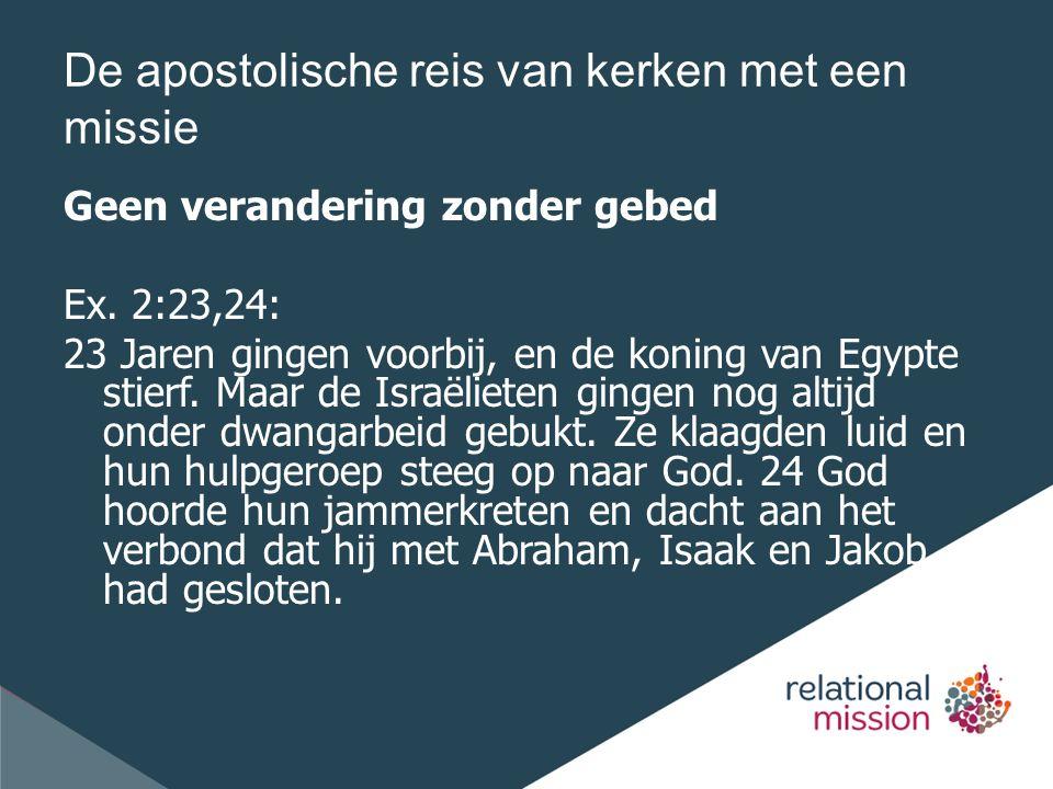 De apostolische reis van kerken met een missie Geen verandering zonder gebed Ex.
