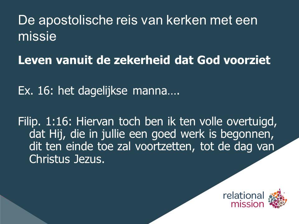 De apostolische reis van kerken met een missie Leven vanuit de zekerheid dat God voorziet Ex.