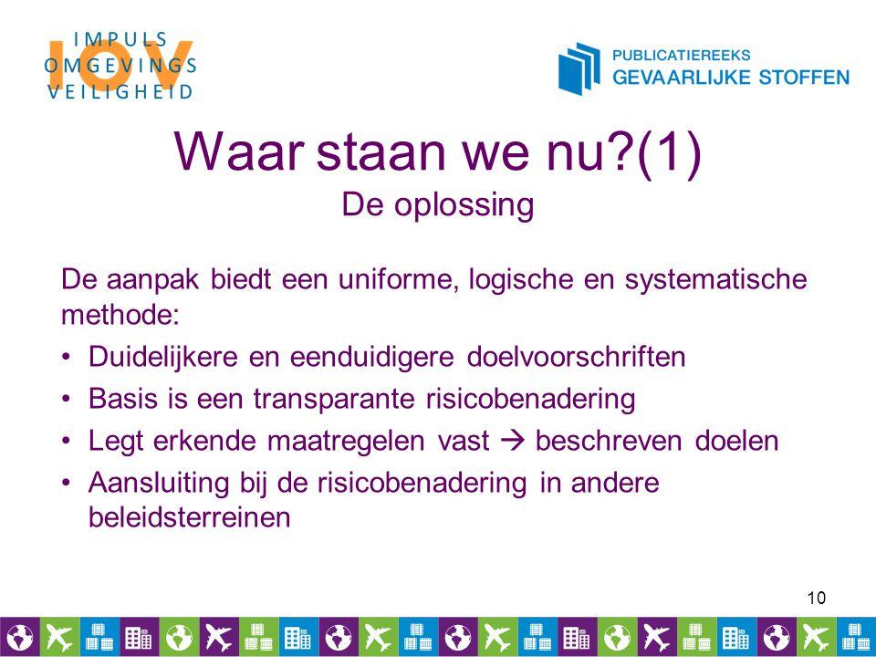 Waar staan we nu?(1) De oplossing De aanpak biedt een uniforme, logische en systematische methode: Duidelijkere en eenduidigere doelvoorschriften Basi