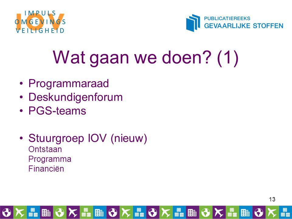 Wat gaan we doen? (1) 13 Programmaraad Deskundigenforum PGS-teams Stuurgroep IOV (nieuw) Ontstaan Programma Financiën