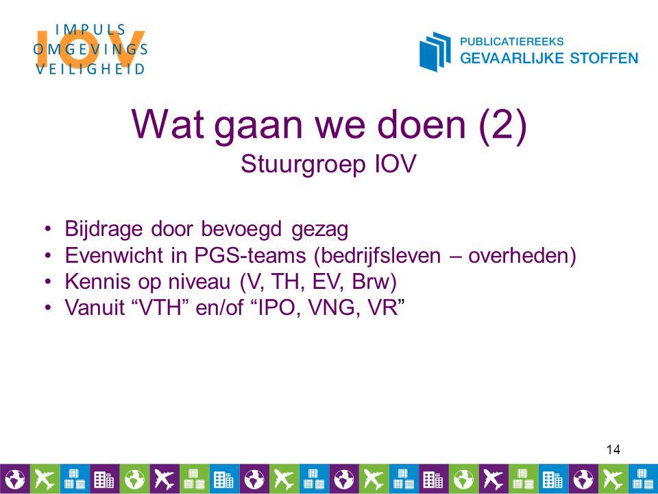 Wat gaan we doen (2) Stuurgroep IOV 14 Bijdrage door bevoegd gezag Evenwicht in PGS-teams (bedrijfsleven – overheden) Kennis op niveau (V, TH, EV, Brw