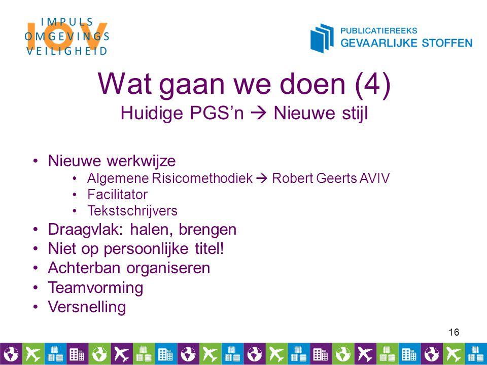 16 Wat gaan we doen (4) Huidige PGS'n  Nieuwe stijl Nieuwe werkwijze Algemene Risicomethodiek  Robert Geerts AVIV Facilitator Tekstschrijvers Draagv