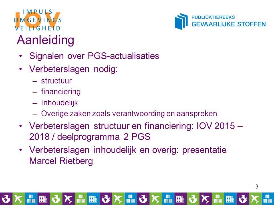Aanleiding Signalen over PGS-actualisaties Verbeterslagen nodig: –structuur –financiering –Inhoudelijk –Overige zaken zoals verantwoording en aansprek