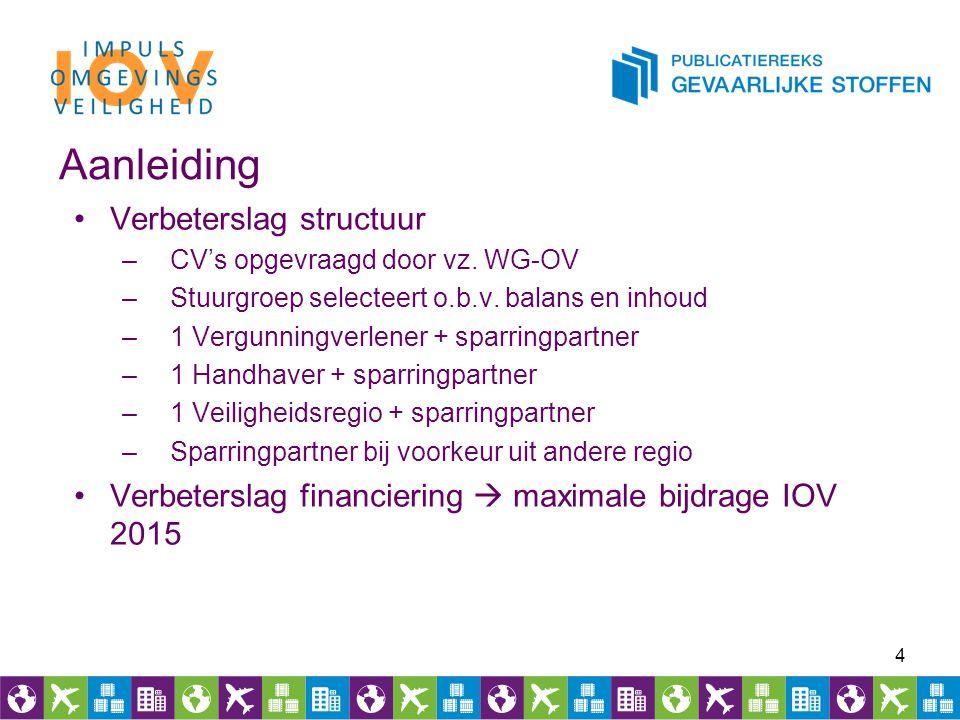 Aanleiding Verbeterslag structuur –CV's opgevraagd door vz. WG-OV –Stuurgroep selecteert o.b.v. balans en inhoud –1 Vergunningverlener + sparringpartn