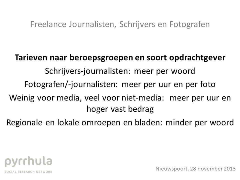 Freelance Journalisten, Schrijvers en Fotografen Tarieven naar beroepsgroepen en soort opdrachtgever Schrijvers-journalisten: meer per woord Fotografe