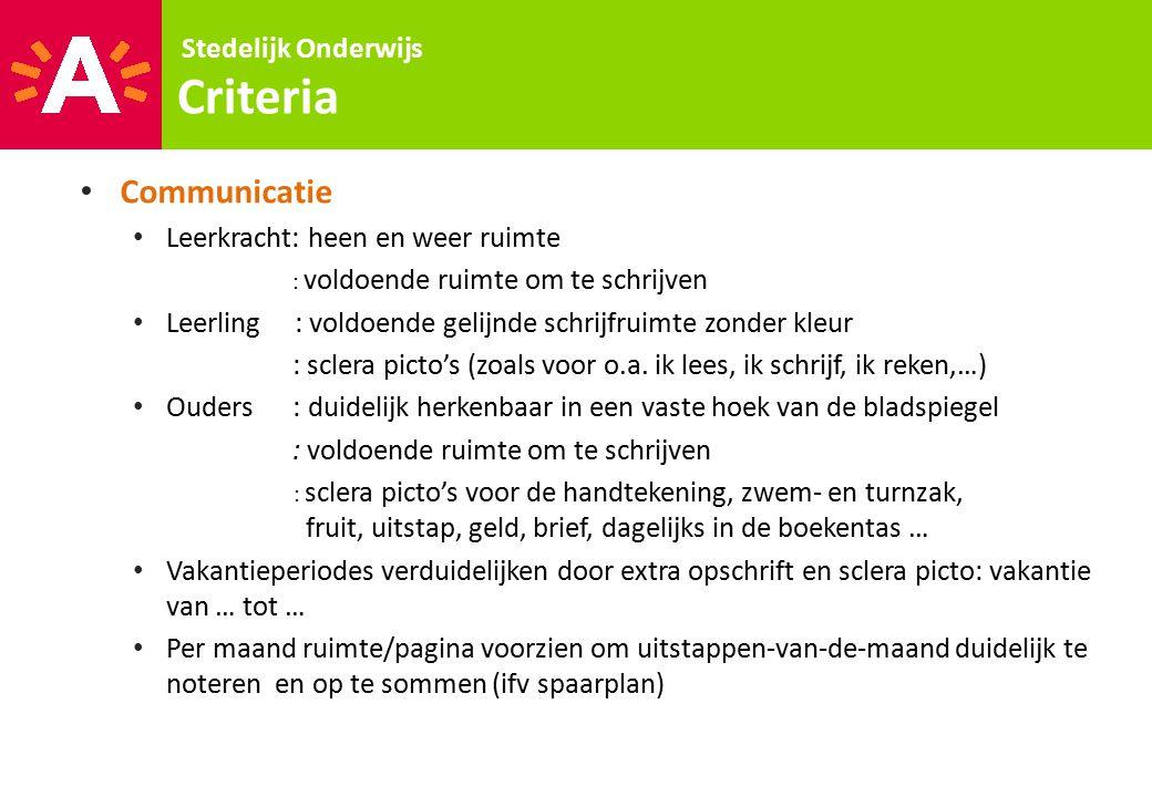 Stedelijk Onderwijs Criteria Communicatie Leerkracht: heen en weer ruimte : voldoende ruimte om te schrijven Leerling : voldoende gelijnde schrijfruim