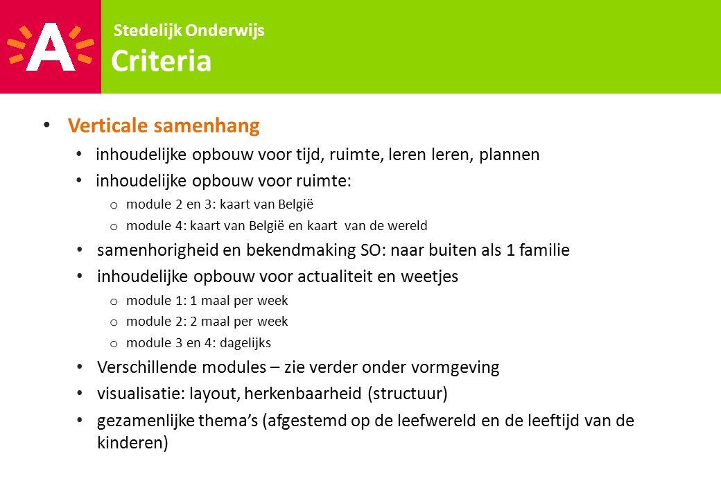 Stedelijk Onderwijs Criteria Verticale samenhang inhoudelijke opbouw voor tijd, ruimte, leren leren, plannen inhoudelijke opbouw voor ruimte: o module