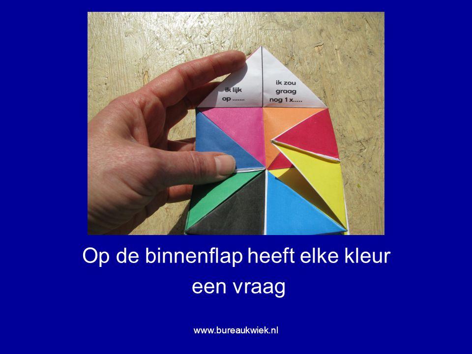 Op de binnenflap heeft elke kleur een vraag www.bureaukwiek.nl