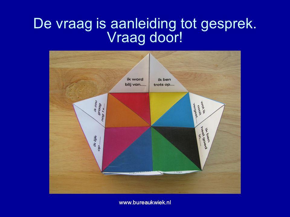 De vraag is aanleiding tot gesprek. Vraag door! www.bureaukwiek.nl