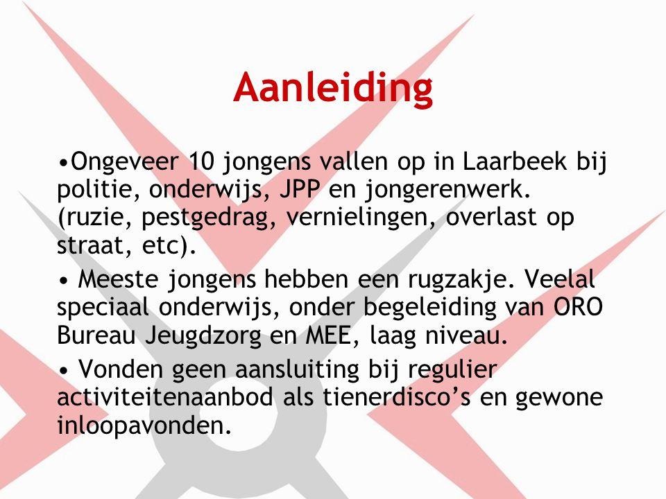 Aanleiding Ongeveer 10 jongens vallen op in Laarbeek bij politie, onderwijs, JPP en jongerenwerk.
