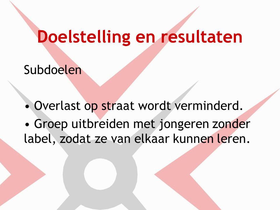 Doelstelling en resultaten Subdoelen Overlast op straat wordt verminderd.