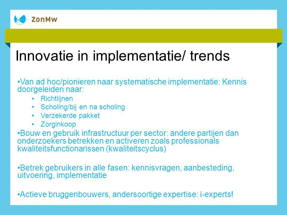 Innovatie in implementatie/ trends Van ad hoc/pionieren naar systematische implementatie: Kennis doorgeleiden naar: Richtlijnen Scholing/bij en na sch