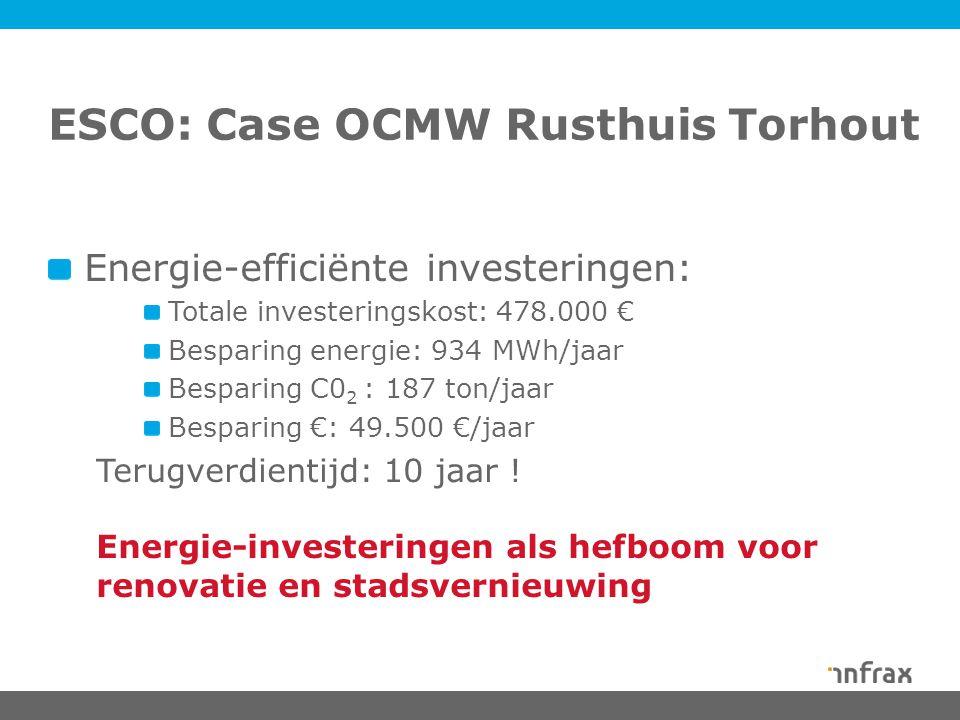 ESCO: Case OCMW Rusthuis Torhout Energie-efficiënte investeringen: Totale investeringskost: 478.000 € Besparing energie: 934 MWh/jaar Besparing C0 2 : 187 ton/jaar Besparing €: 49.500 €/jaar Terugverdientijd: 10 jaar .