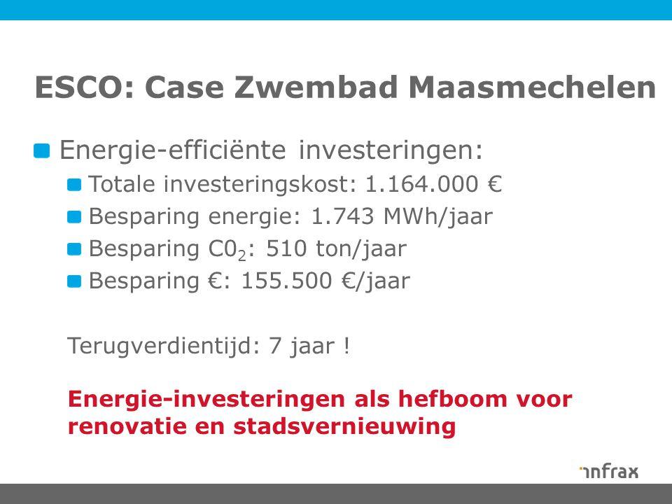 ESCO: Case Zwembad Maasmechelen Energie-efficiënte investeringen: Totale investeringskost: 1.164.000 € Besparing energie: 1.743 MWh/jaar Besparing C0 2 : 510 ton/jaar Besparing €: 155.500 €/jaar Terugverdientijd: 7 jaar .