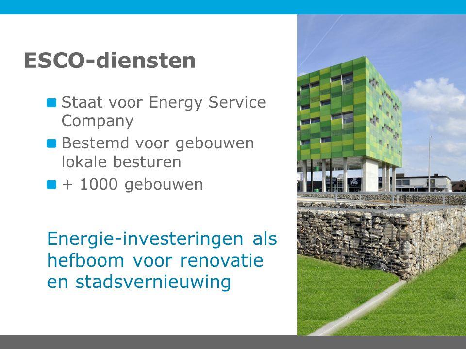 ESCO-diensten Staat voor Energy Service Company Bestemd voor gebouwen lokale besturen + 1000 gebouwen Energie-investeringen als hefboom voor renovatie en stadsvernieuwing