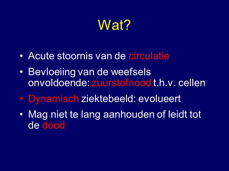 Wat? Acute stoornis van de circulatie Bevloeiing van de weefsels onvoldoende: zuurstofnood t.h.v. cellen Dynamisch ziektebeeld: evolueert Mag niet te