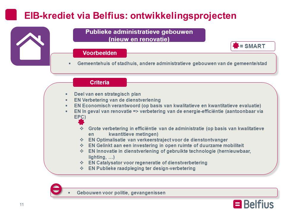  Gemeentehuis of stadhuis, andere administratieve gebouwen van de gemeente/stad 11 EIB-krediet via Belfius: ontwikkelingsprojecten Publieke administr