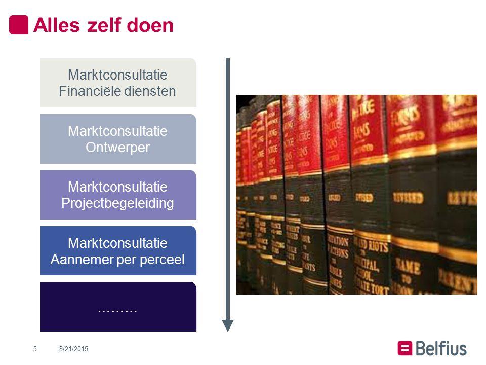 Alles zelf doen 8/21/20155 Marktconsultatie Projectbegeleiding Marktconsultatie Ontwerper Marktconsultatie Financiële diensten Marktconsultatie Aannem
