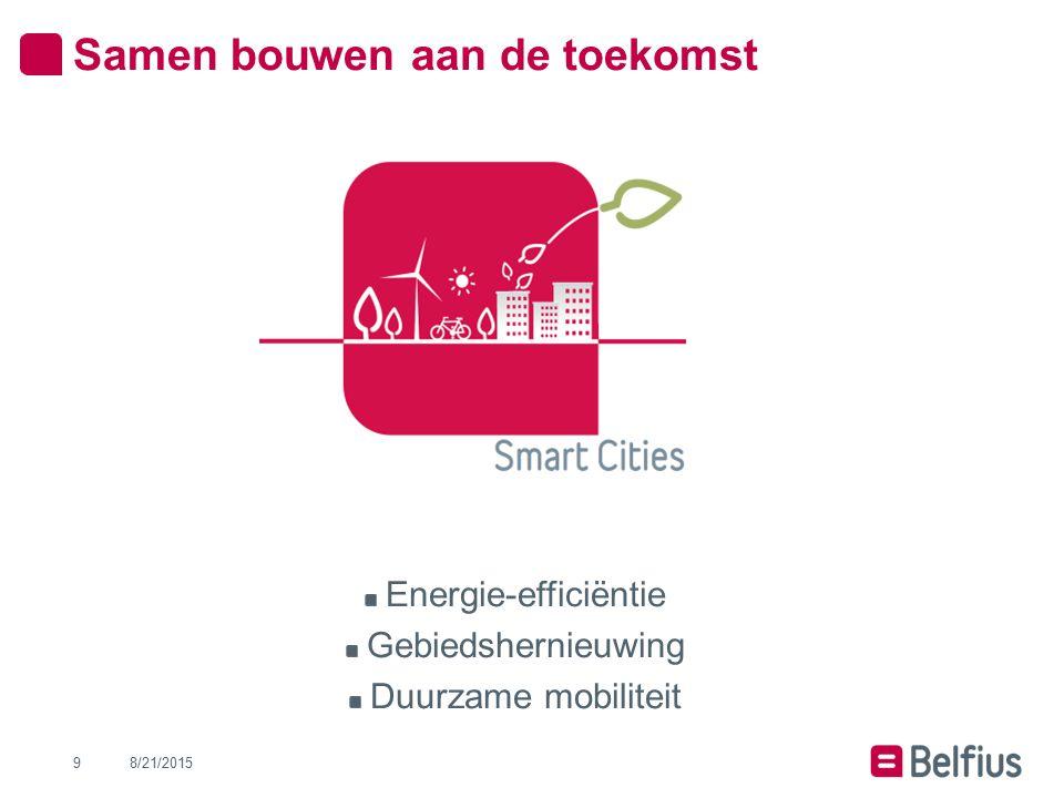Samen bouwen aan de toekomst Energie-efficiëntie Gebiedshernieuwing Duurzame mobiliteit 8/21/20159